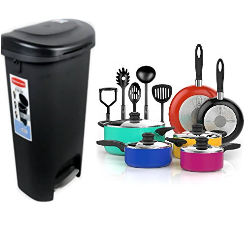 Pot Feet Set (Combo of Rubbermaid 13 Gallon Step-on Wastebasket Recycling Garbage Trash Can with Lid and 15 Piece Nonstick Cookware Set)