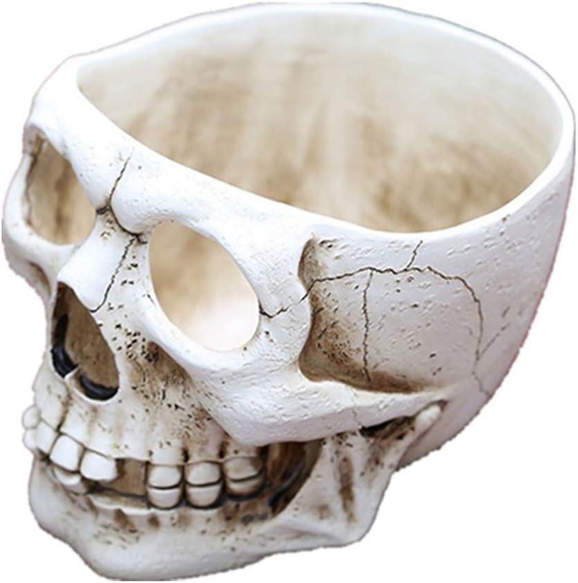 Adarl Artificial Resin Skull Head Flower Pot, Multifunctional as Halloween Skull Candy Bowl, Indoor Plant Holder Desk Ornaments,A1