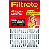 Filtrete MPR 1000 20 x 25 x 4 (4-3/8 Actual Depth) Micro Allergen Defense Deep Pleat AC Furnace Air Filter, Captures Small Particles, Guaranteed Airflow up to 12 months, 2-Pack