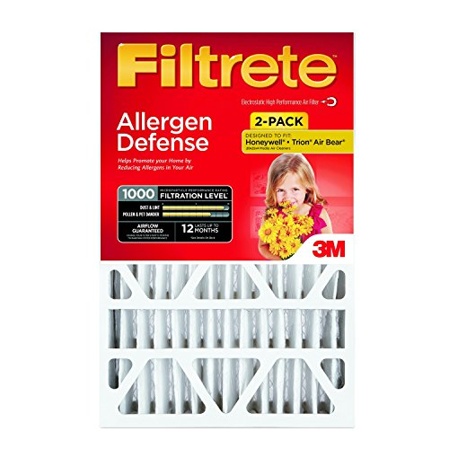 Filtrete MPR 1000 20 x 25 x 4 (4-3/8 Actual Depth) Micro Allergen Defense Deep Pleat AC Furnace Air Filter, 2-Pack ()