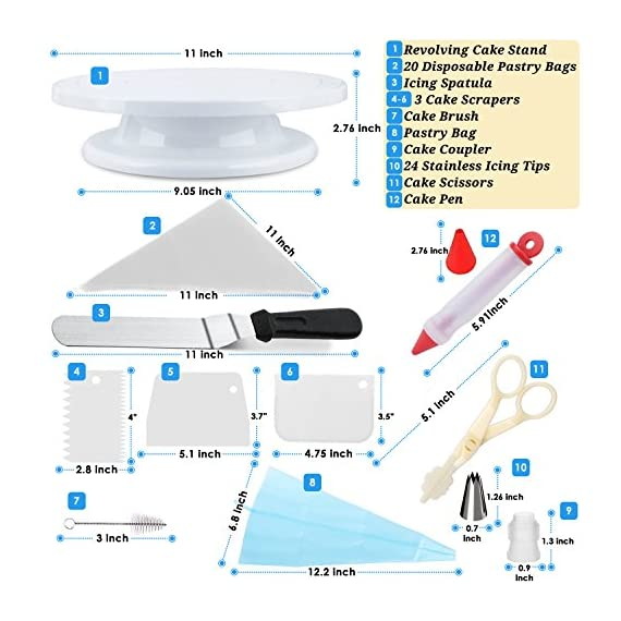 Cake Decorating Supplies 36 Pieces Cake Supplies with Revolving Plastic Turntable, 24 Stainless Steel Decorating Tips, 3 Plastic Scrapers, Icing Spatular, Pastry Bag 3 EVERYTHING NEEDED TO DECORATE CAKE - Cake turntable stand, 24 Stainless Steel icing Tip set, 1 Cake Decorating Turntable 11 inch , 1 Icing Spatula With Sided 11 inch, 1 Reusable Silicone Pastry Bags, 1 Cake Tip Brush,1 Cake Flower Lifter,1 Cake Pen, 3 Cake Scrapers, 1Piping Tip Coupler, 20 Disposable Pastry Bag. A MUST HAVE STAND FOR BAKING LOVERS - Make beautiful cakes with the Growses cake decorating supplies package. The rotating Cake decorating stand help you to easily decorate round cakes and other desserts for birthdays, parties, weddings and other events. The Round Turntable is robust, made from non sticky plastic, non-toxic, dishwasher safe, ideal for beginners as well as for professionals. MORE ICING BAGS FOR USING - 1 pastry bag and 1 disposable pastry bags, perfect for decorating with milti-color cream, Plastic Couplers can be easier to change piping tips.