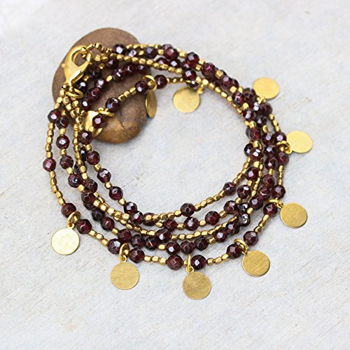 - Garnet faceted beads wrap bracelet with gold 22k plated on brass beads and golden disc decoration