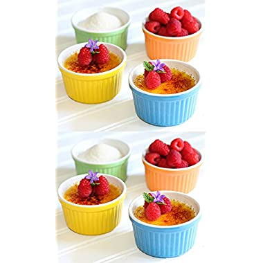2 Pack Stoneware Creme Brulee Ramekins Dishes Baking Dish Set of 4,3.75x2in,5oz/150ml
