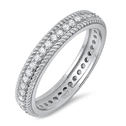 [Unique Womens Ring Rope Twist Stripe Side Cubic Zirconia Centered Promise Trendy Jewelry Size 8] (Rope Stripe Ring)