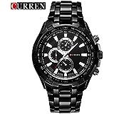 Curren Analogue Black Dial Men's Watch curren1-slvr-blk-slvr
