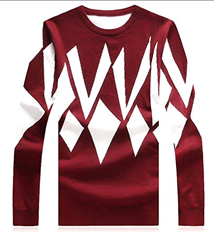 [Marjorie De Warm Fashion Comfortable Men's Casual Geometric Pattern Slim Knit Pullover Sweater Wine] (Morph Suite)