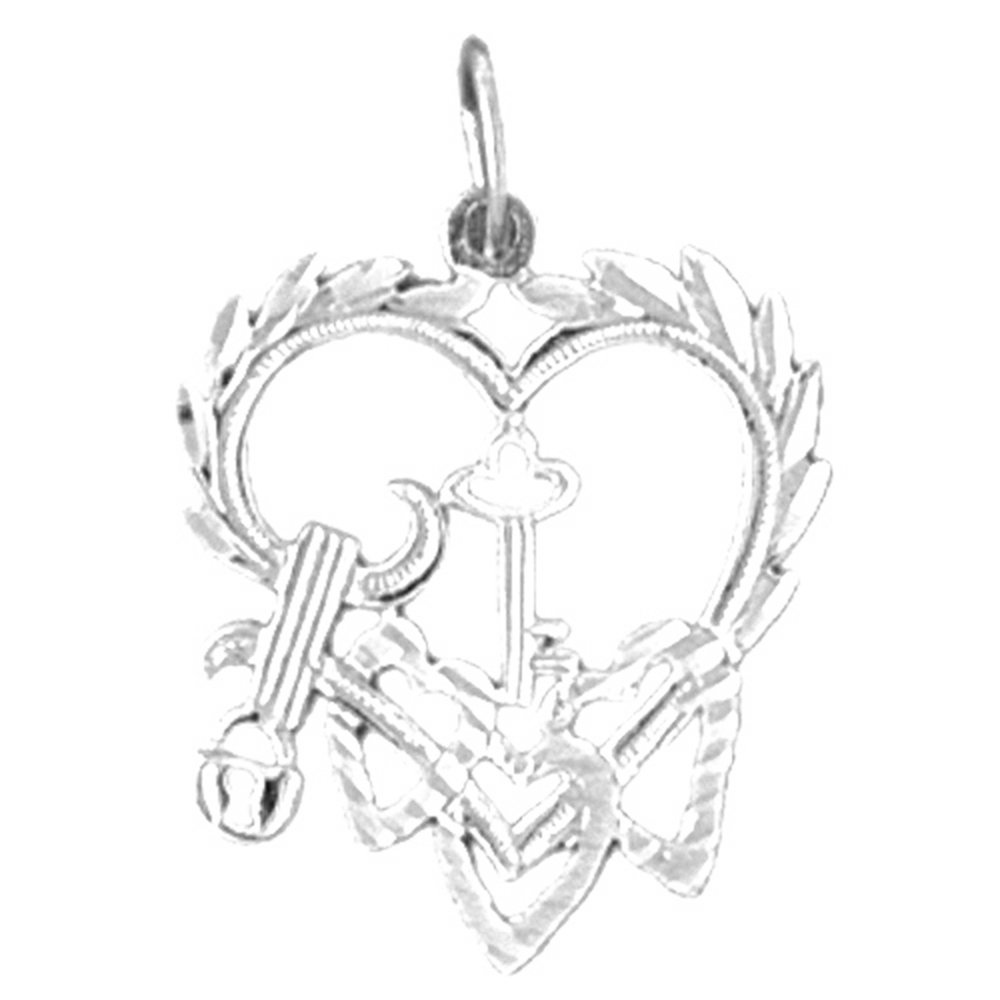 Rhodium-plated 925 Silver Heart With Key Pendant with 18 Necklace Jewels Obsession Heart With Key Necklace
