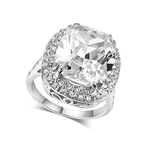 LAMOON Ruby Ring for Women Engagement Big Zircon CZ Stone 18KGP Vintage Statement Rings (R080, 7)