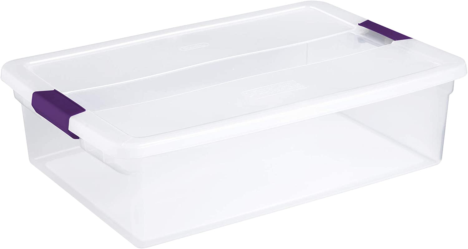 STERILITE 17551706 32 Quart Clear View Latch Lid Stackable Storage Container