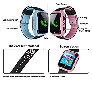 Kids Smart Watch Phone with GPS Tracker Locator Camera Math Game Pedometer Digital Analog Alarm Torch Remote Monitor Anti Lost for Girls Boys Compatible with Android iPhone (01 G3S Pink GPS+Pedometer)