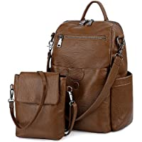 UTO Women Backpack Purse PU Washed Leather Ladies Rucksack Detachable Crossbody Shoulder Bag