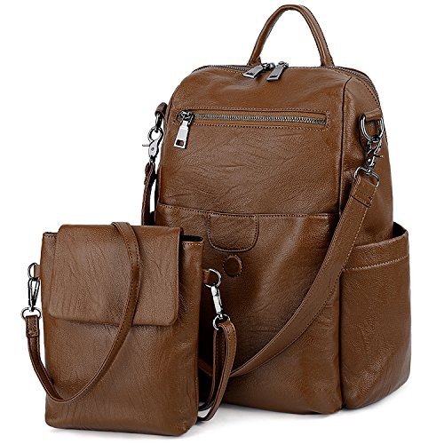 UTO Women Backpack Purse PU Washed Leather Ladies Rucksack Detachable Crossbody Shoulder Bag C Brown