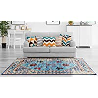 Adgo Valeron Collection Modern Contemporary Live Multicolor Blue Design Jute Backed Area Rugs Tall Pile Height Well Spaced Soft Indoor Floor Rug (3 x 5)