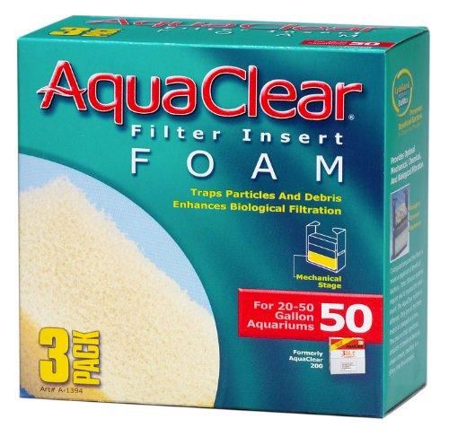Inserciones de espuma Aquaclear de 50 galones, paquete de 3