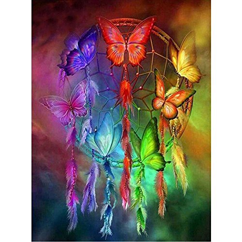 5D Diamond Painting, callm Clearance DIY Cross Stitch Kit Butterfly Dream Catcher Diamond Embroidery Painting Drill Arts Craft Supply for Home Wall Decor - Stitch Cross Dreams