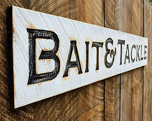 Bait & Tackle Carved X-Large Sign- 6 Feet by 1 Foot Cabin Cottage Vintage Style Decor
