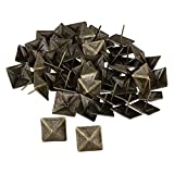 Mxfans Upholstery Tack Decorative Nail Furniture Square Rivet Bronze Pack of 50