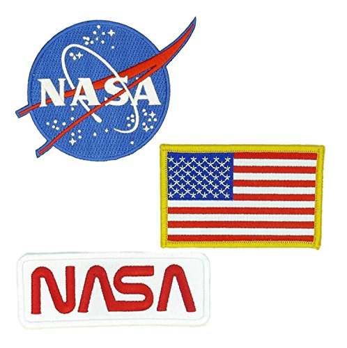 3 Pack NASA USA Flag Vector Logo Worm Embroidered Sew/Iron-on Badge Patches Appliques Application ()