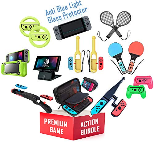 Skywin Switch Accessories Bundle - Action Accessory Kit for Nintendo Switch - Travel Case, Anti-Blue Glass Protector… 1