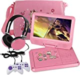 kids dvd player - KOCASO 9 INCH Kids Portable Foldable CD/DVD Player W/ Matching Headphones. 2 FREE Game Controllers, Rechargeable Battery, Swivel Screen, SD Card Slot, USB Port, AV Jack Personal DVD Player [PINK]
