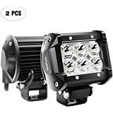 "Nilight 2PCS 18W 1260lm Spot Driving Fog Light Off Road Led Lights Bar Mounting Bracket for SUV Boat 4"" Jeep Lamp,2 years Warranty"