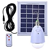 LED Solar Bulb Home Emergency Light Hanging E27 LED bulb 12-LED Dimmable Light Multi-functional Solar Panel Powered with Remote for Camping Hiking