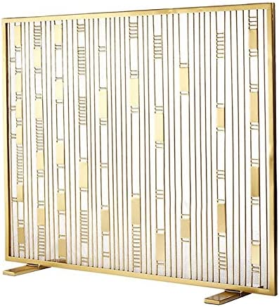 暖炉スクリーン 強力な2フィートのシンプルなゴールド暖炉スクリーン-防錆金属スパークガード-屋内および屋外の家の装飾ン
