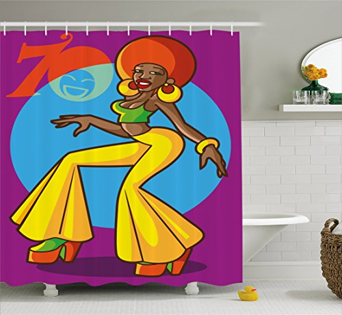 Ambesonne 70s Party Decorations Shower Curtain, African American Woman Dancing at Disco Funky Fashion Smiling Face, Fabric Bathroom Decor Set with Hooks, 70 Inches, Multicolor 1970s Disco Fashions