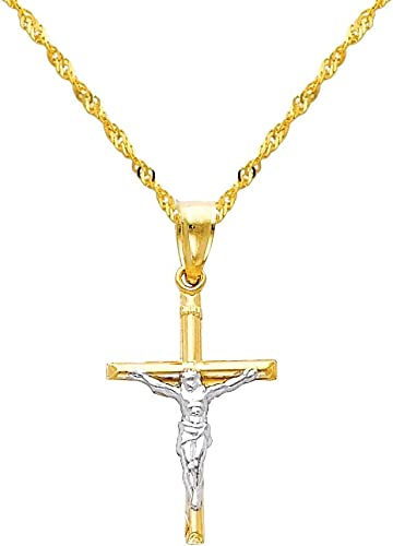 14K Two Tone Gold Cross Religious Charm Pendant For Necklace or Chain