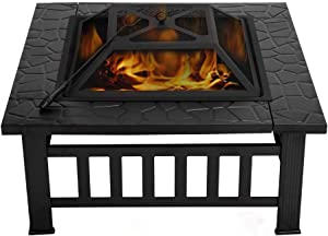 VIVOHOME 32 Inch Heavy Duty Metal Square Patio Backyard Firepit Table with Spark Screen Cover Log Grate and Poker for Outside Wood Burning and Camping
