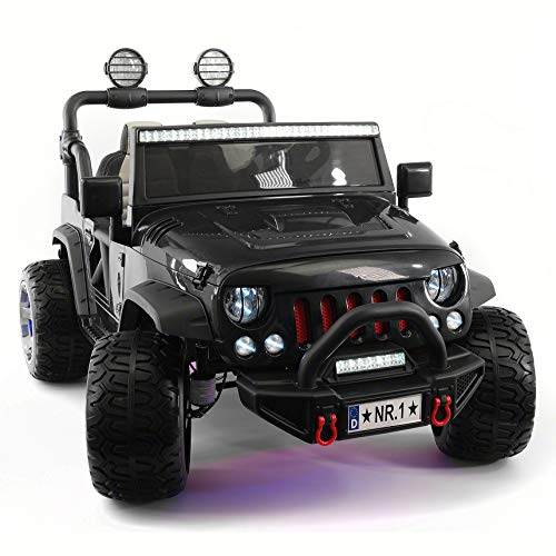 Moderno Kids Explorer 2 (Two) Seater 12V Power Children Ride-On Car Truck with R/C Parental Remote + EVA Rubber LED Wheels + Leather Seat + MP3 Music Player Bluetooth FM Radio + LED Lights (Black)