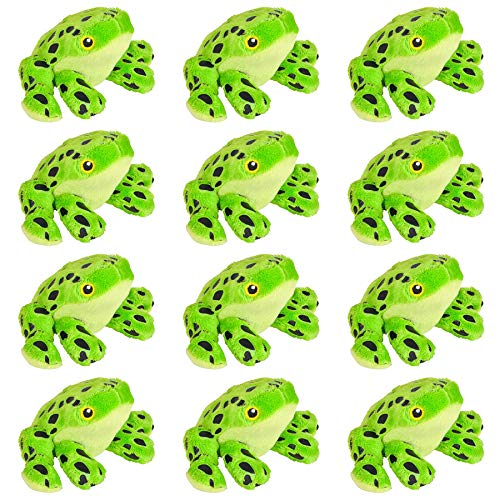 Stuffed Animal Mini Plush Toys for Goody Bags, 12 Pack Stocking Stuffer for Kids~Birthday Party Favors for Toddlers~Classroom Treasure Box Prizes~Soft & Small Gifts for Boys & Girls (Green Frog)