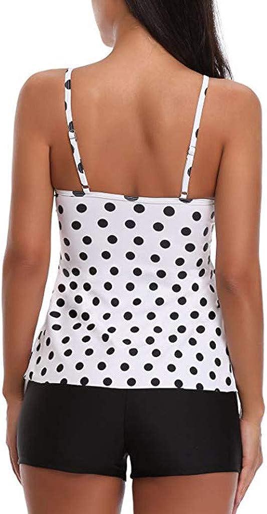 Zweiteiliger Badeanzug Damen Bauchweg Punkte Tankini mit Badehose,Kanpola Gepolstert Bikini-Oberteile /& Badeshorts Swimsuit Beachwear