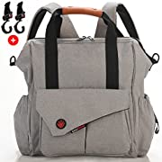Nexpa Baby Diaper Bag Backpack W/Stroller Straps & Changing Pad - Unisex Multi-Function - Grey