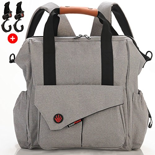 Nexpa Baby Diaper Bag Backpack W/ Stroller Straps & Changing Pad - Unisex Multi-Function - Grey