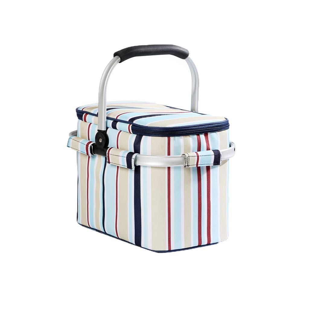 FH Outdoor-Picknick-Isolationsbeutel, Mittagessen-Aufbewahrungsbeutel, Faltbarer Picknickkorb 38 × 26 × 25 cm (Farbe   Blau Stripes) B07NMLH6XH       Billig