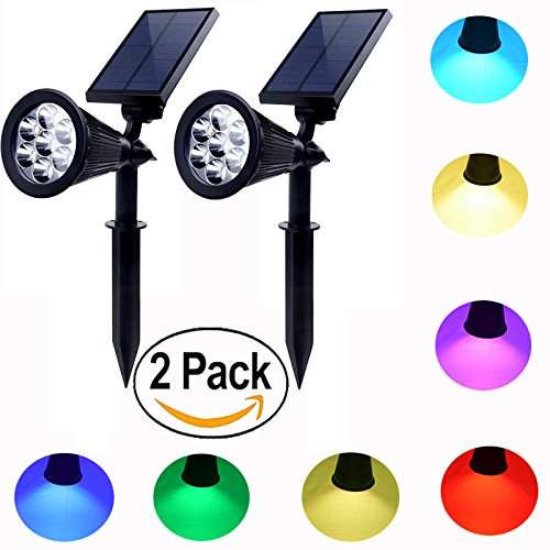 Solar powered spot lights outdoor 7 led multi color Bright & Dark Sensor Solar Garden Lights for the patio,lawn & garden Waterproof Security (two model: Changing & fixed color) - Seven Spot