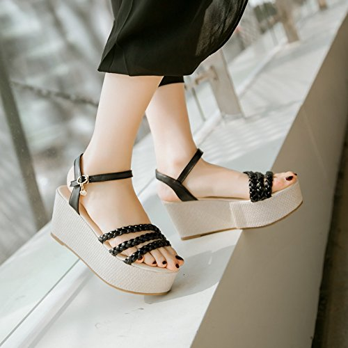 Cresta Coreano de Verano Zapatos Cu a Planas Gruesa de Sandalias ZHZNVX Zapatos Hebilla Tac fU0B1q