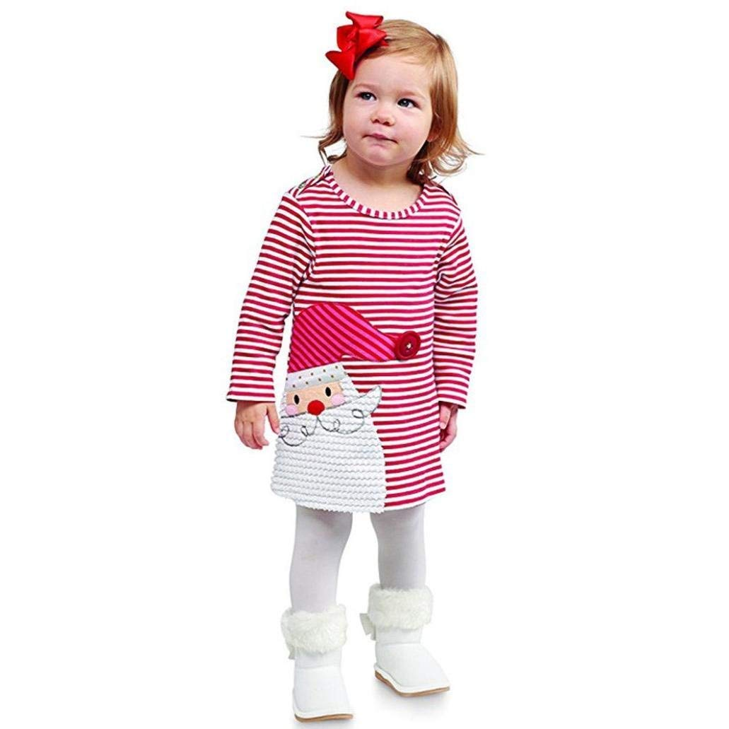 Noubeau Toddler Baby Girls Christmas Outfits Striped Santa Claus Xmas Deer Print Party Dress Clothes Outfit