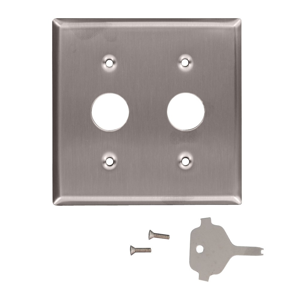 Leviton 84072-40 2-Gang Key Lock Power Switch Device Switch Wallplate, Standard Size, Device Mount, For Use With Corbin Key Lock Switch, Spanner Screws and Tool, Stainless Steel