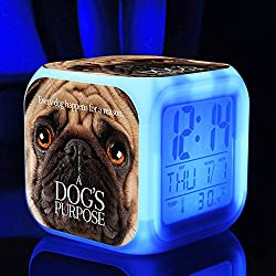 Hot TV Movie A Dog's Purpose Figures Felicie Victor Desktop Alarm Clock with 7 Changing Colors Cute Cartoon LED Clock (Style 3)