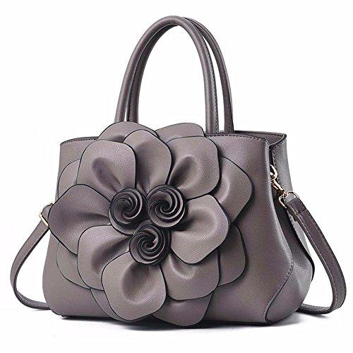 Tridimensional Gqfgyyl Gray Señoras Elegante Bolso Flor pink Bolsa Hombro Suave De Cara Grande wttdqr7