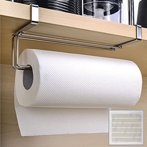 Numola Paper Towel Holder, Rustproof & Durable Roll Paper Towel Rack for Kitchen/Bathroom/Toilet/Pantry with 8 Anti-Skid Silicone Strips, Suitable for Closet's Thickness Less Than 1.4 Inches