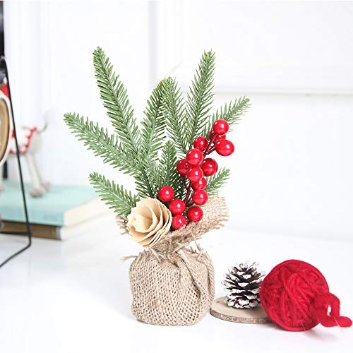 Mini Artificial Christmas Tree, with Bows Best Choice Christmas Decoration for Table and Desk Tops | Small Tall Christmas Pine Tree Perfect for Your Home or Office (A)