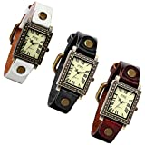 Lancardo Ladies Antique Brass Square Face Silm Thin Brown/White/Black Leather Strap Watch