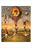1890 Decorative old fashion CIRCUS POSTER 24X36 Flying ACROBATS