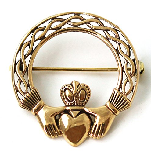 Bronze Norse Irish Claddagh Brooches, Clothes Fasteners - Cloak / Scarf / Shawl Pin, Vintage Jewelry (Brooch (Knot Brooch Pin)