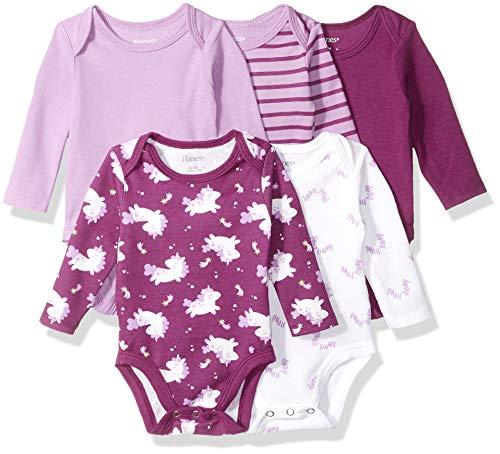 - Hanes Ultimate Baby Flexy 5 Pack Long Sleeve Bodysuits, Purple Fun, 12-18 Months