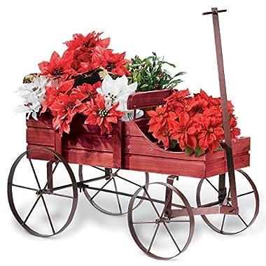 Amish Wagon Decorative Garden Planter, Red
