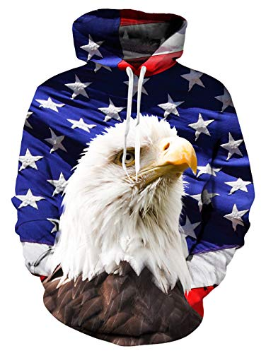 Clothing White Hood (TUONROAD 3D Digital Animal Face Printing Hoodies Jacket Coat Patriotic American Flag White Eagle Plus Size Long Sleeve Hip Hop Graphic Hooded Pullover Premium Quality Sweatshirt with Drawstring Hood)